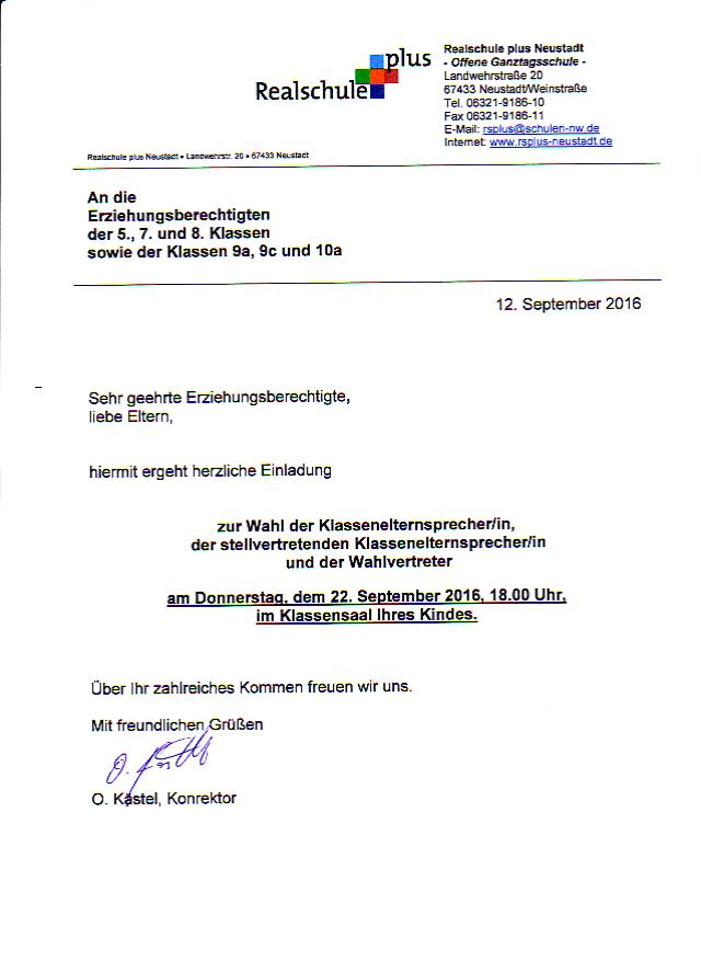 bombenfund: schule bleibt geschlossen! | realschule plus neustadt, Einladung